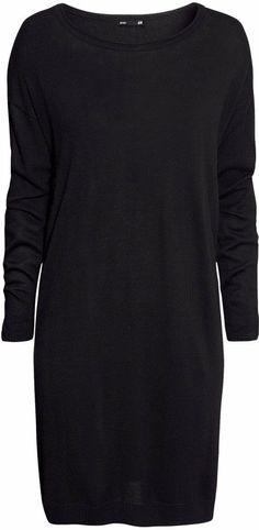 H&M Fine-knit Dress - Black - Ladies on shopstyle.com