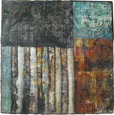 Jennifer solon: Frame of Reference Mixed media collage (textiles, encaustic wax, pigments)