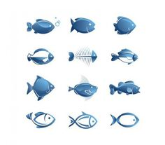12 Blue Fish Vector Illustrations Set - http://www.welovesolo.com/12-blue-fish-vector-illustrations-set/