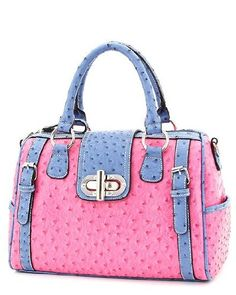 Faux Ostrich Leather Handbag Pink Blue Purse Designer Inspired