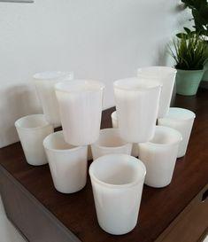 "Vintage *Set of 12* Opalescent White Milk Glass Tumblers/Juice Glasses 3.5"" RARE"