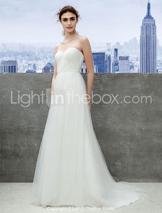Lanting Bride Convertible Dress Sweep/Brush Train Tulle Sheath/Column Wedding Dress (1539445) 2016 - $99.99