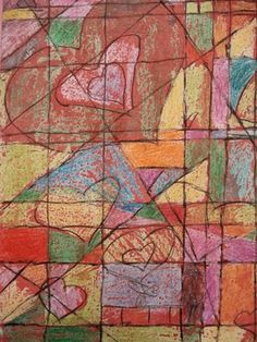 cubist... crayon wax resist