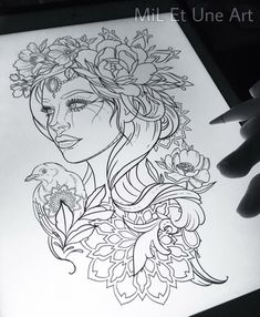 New flowers design tattoo sketches ideas Sketch Tattoo Design, Tattoo Sketches, Tattoo Drawings, Art Sketches, Art Drawings, Drawing Faces, Sketch Design, Design Design, Kunst Tattoos