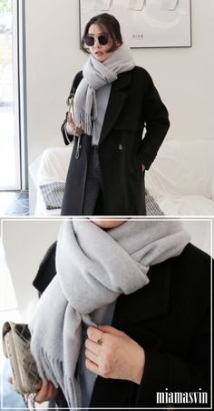 This lovely muffler boasts a soft woolen finish accented with fringed trimming for a classic style. It also features a simple wraparound design with ample coverage to keep you warm. With a solid color, this is one muffler that you can easily mix and match with your different winter outfits ---- #koreanfashion #koreanstyle #fall #winter #miamasvin #scarf #knit