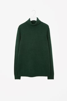 COS image 4 of Cashmere roll-neck jumper in Bottle Green