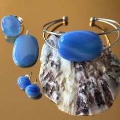 Glasfusing Spectrumglas hanger-armband-ring-oorstekers door CHARLOTTeGLAsARt op Etsy