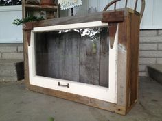 Shadow box made from barn wood and old window