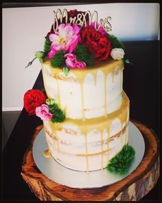 Naked wedding cake by #oldschooltealady
