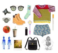 """grid"" by wigglytuff ❤ liked on Polyvore featuring ODD FUTURE, Timberland, American Apparel, Polaroid, Kate Spade, Urban Renewal, ASOS, 1928 and INDIE HAIR"