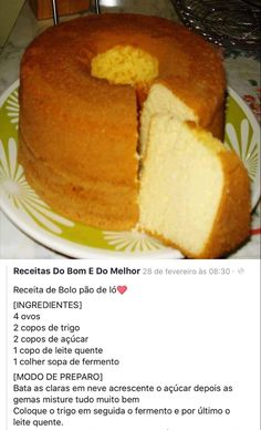 Lemon Recipes, Bread Recipes, Baking Recipes, Cake Recipes, Dessert Recipes, Brazillian Food, Cake Hacks, Savoury Cake, Low Carb Keto