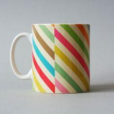 Stripey Mug - Lovely ceramic mug with candy stripes designed by Petra Boase.