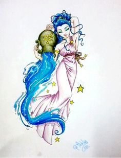 Aquarius Artwork for Ladies | aquarius tattoo by tablis traditional art body art body modification ...
