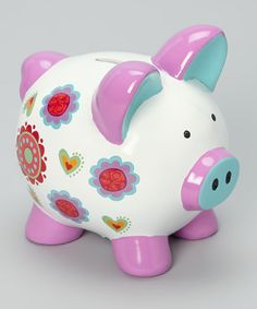 Take a look at this White Flower Heart Piggy Bank by GANZ on today! Pottery Painting, Dot Painting, Ceramic Painting, This Little Piggy, Little Pigs, Pig Images, Pig Bank, Personalized Piggy Bank, Mini Pigs