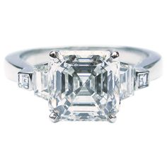 2.52 Carat GIA Cert Asscher Diamond Platinum Engagement Ring | From a unique collection of vintage engagement rings at https://www.1stdibs.com/jewelry/rings/engagement-rings/