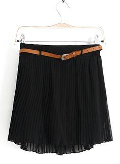 Falda gasa plisada con cinturón-Negro EUR16.31