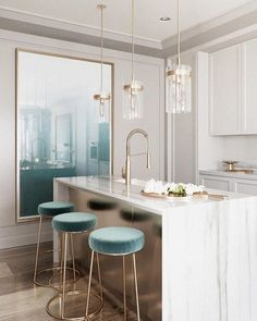 A modern kitchen, with some classic details that leave us amazed. Soft color palette in shades of blue and white, with all the details in gold! A combination that never fails and impresses us all. Luxury Home Decor, Luxury Interior Design, Interior Design Inspiration, Design Ideas, Daily Inspiration, Floor Design, House Design, Nepal, Classical Kitchen