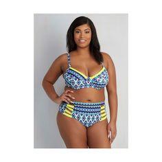 Jessica Simpson Swim 80s High Waist Cabana Fandom Swimsuit Top - 1X-3X ($47) ❤ liked on Polyvore featuring swimwear, bikinis, bikini tops, foundation, two piece separate, two piece top, beach wear, jessica simpson bikini, two piece bikini and swim bikini