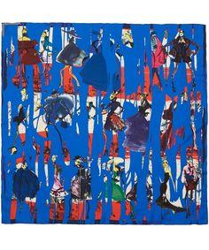 Christian Lacroix Blue Fashion Sketch Silk Scarf