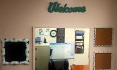 """DIY front office decor.Matching cork boards, chalk board and """"Welcome"""" sign $40.00"""