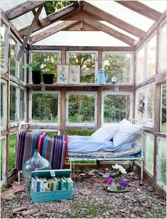 Old windows greenhouse retreat