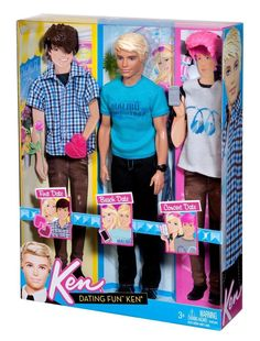 2011 Dating Fun Ken - with molded interchangeable wigs (brunette - first date, blonde - beach date and pink - concert date) - Blonde Buzz Cut Hair under wigs - as well as multiple fashions - Barbie Mattel Mattel Barbie, Barbie Und Ken, Barbie 2000, Baby Barbie, Barbie Doll House, Ken Doll, Barbie Life, Vintage Barbie, American Girl Doll Movies