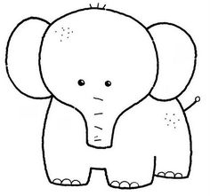 Elephant Coloring Pages Applique Templates, Applique Patterns, Applique Designs, Quilt Patterns, Art Drawings For Kids, Drawing For Kids, Easy Drawings, Art For Kids, Animal Coloring Pages