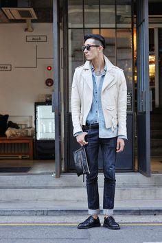 white leather jacket, chambray, denim, sunglasses