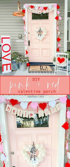 Pink and Red Valentine's Porch. Make a DIY garland, sign, banner, pillow and wreath to create a bright and colorful porch for Valentine's Day! Valentines Day History, Valentines Day Date, Valentines Gifts For Him, Love Valentines, Valentine Crafts, Front Door Christmas Decorations, Christmas Front Doors, Valentines Day Decorations, Front Door Decor