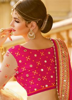 Majestic Half N Half designer in crepe and net embellished with extensive mirror, moti, zari and lace work. Netted Blouse Designs, New Blouse Designs, Half Saree Designs, Saree Blouse Designs, Traditional Blouse Designs, Blouse Neck Patterns, Mirror Work Blouse Design, Mirror Work Saree, Pakistani Fashion Casual
