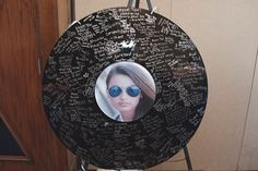 Record Sign In Board for Music Theme Bat Mitzvah by Flower Power Designs - mazelmoments.com
