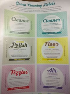 A sheet of stickers to label your new green cleaners with the ingredients conveniently listed so you don't have to go looking for them every time you need to make up a new batch. Plus they're free! Green Cleaners, White Vinegar, New Green, Air Freshener, How To Apply, How To Make, The Help, Cleaning, Zero Waste