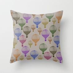 Colorful Hot Air Balloons Throw Pillow by Zen And Chic - $20.00