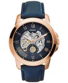 Fossil Men's Automatic Grant Navy Leather Strap Watch 44mm ME3054 - Watches - Jewelry & Watches - Macy's