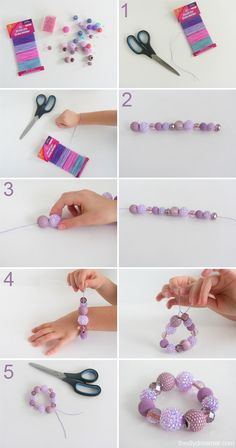 Great craft for a girl's birthday party-  bead bracelets with elastic cord. Can get all supplies at Michael's.