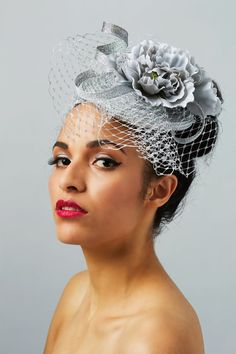 Silver Pill Box Hat Fascinator Headpiece - Wedding  amp  Race Events -  Custom 1320ed6e866f