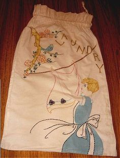 Vintage Vogart Embroidered Laundry Bag Blue Bird and Lady. $14.99, via Etsy.