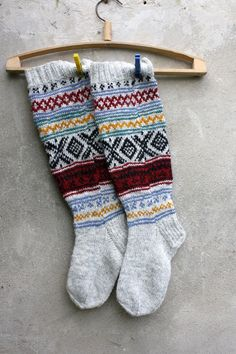 Grey Knee high knitted socks with Scandinavian by RGideas on Etsy