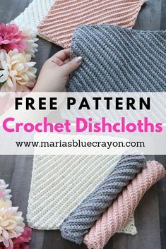 Easily whip up these textured crochet dishcloths in no time! I bet they'll be your new favorite - grab the free pattern and get going! Tricot et Crochet Easy Free Crochet Dishcloth Pattern Crochet Kitchen, Crochet Home, Easy Crochet, Easy Things To Crochet, Double Crochet, Crochet Blogs, Single Crochet, Stitch Crochet, Knit Crochet