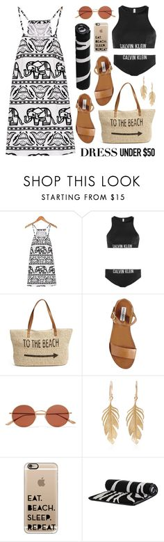 """Dress Under $50"" by lgb321 ❤ liked on Polyvore featuring Calvin Klein, Straw Studios, Steve Madden, Oliver Peoples, Annette Ferdinandsen and Casetify"