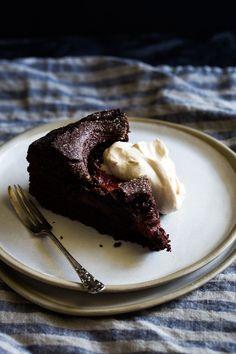Plum Brownie Cake + Espresso Cream – The Floured Kitchen