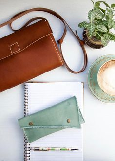 A sweet, pretty pencil case made of high quality, Italian veg tanned leather in a beautiful pastel hue.