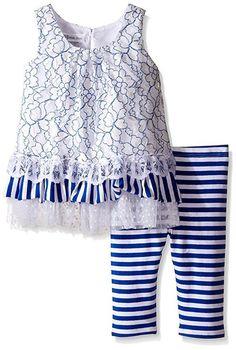 BONNIE JEAN Girls Lace Overlay Tiered Tunic Striped Capri Legging Set Outfit 2T #BonnieJean #TwoPieceSetTieredTunicTopLeggings #CasualPlaywearDressyEveryday