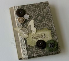 Designer Fabric Mini Notebook Cover. Stampin Up. Gorgeous note book! Notes on blog.