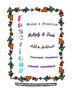 Great for high school and adult students who need review of  fraction/mixed number concepts - Provides rules & examples and coordinating worksheet for multiplying, dividing, adding, and subtracting, at Dawn Designs TpT Store.