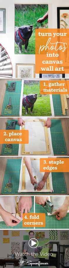 Turn your Photos into Canvas Wall Art with Spoonflower - Click to see this easy tutorial to turn your photos into canvas wall art.  This is the perfect holiday gift, or decorate your own home with these custom printed canvas prints.  All you need is your photo and some canvas stretcher bars to turn your photos into wall art.  #diyholiday #diygift #homedecor #memories #photoart #decorate #diydecorate #craftymom