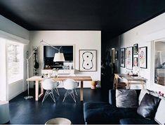 Dark ceiling & floor.