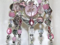 Bead Christmas Ornaments  Pink Gray White and by CJKingOriginals