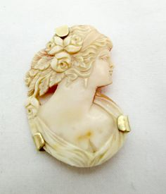 Antique Victorian 14k GOLD SHELL CAMEO Pendant by DaffodilsVintage