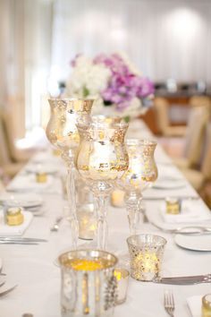 Mercury glass is one of our favorite table accessories! Table design and decoration created by Passion Roots, Hawaii Wedding Florist. www.passionroots.com